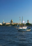 Yachts on Neva river. St.Petersburg, Russia Royalty Free Stock Image