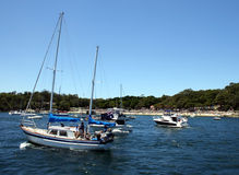 Yachts at Nielson Park. In Sydney Harbour at the start of the Sydney to Hobart Yacht Race, Sydney, Australia Royalty Free Stock Image