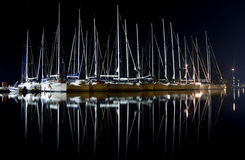 Yachts at night Royalty Free Stock Photos