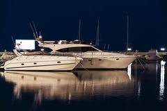 Yachts at night Stock Photo