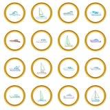 Yachts o círculo dos ícones ilustração royalty free