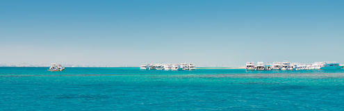 Yachts in ocean panorama Stock Photography