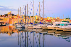 Yachts in the Old Port of Marseilles, France Royalty Free Stock Photography