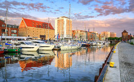 Yachts in old town port of Gdansk, Poland Stock Photos