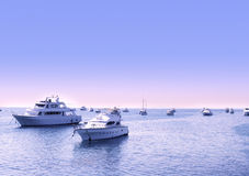 Yachts on the open sea Stock Photo