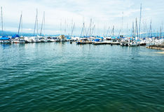 Yachts at Ouchy port, Lausanne, Switzerland Stock Photography
