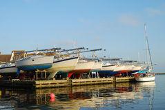 Yachts over-wintering at Christchurch Royalty Free Stock Photos