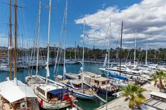 Yachts on palma de Mallorca. Spain Palma de Mallorca June 19, 2016 Palma de Mallorca Carrer Del Moll marina skyline with yachts. boats and yachts on palma de Stock Image