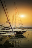 Yachts parked on mooring. In evening sunset Royalty Free Stock Photo