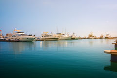 Yachts parked in the sea port of Sochi Stock Photos