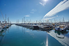Yachts parking in French Riviera. Luxury yachts in Mediterranian harbour Stock Photography