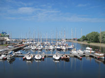 The yachts parking in the harbor. The boats parking in the harbor at the Olympic sailing center of Tallinn Stock Image