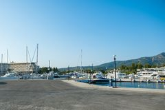 Yachts parking in the harbor yacht club royalty free stock photos