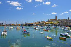 Yachts in Penzance harbour, Cornwall, England Stock Image