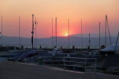 Yachts pier at Lake Garda on Sunset Royalty Free Stock Image