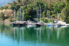 Yachts at the pier on Mediterranean turkish resort Stock Photography