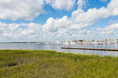 Yachts and Pier Past Green Wetland Marsh Stock Image