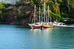 Yachts at the pier on Turkish resort Stock Photography