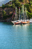 Yachts at the pier on Turkish resort Stock Photos