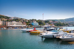 Yachts and pleasure boats are moored in Balchik Stock Photos