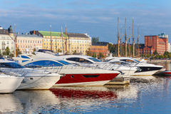 Yachts and pleasure boats moored in Helsinki, Finland Royalty Free Stock Images