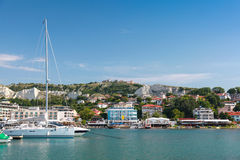 Yachts and pleasure boats are moored in marina of Balchik town Royalty Free Stock Photography