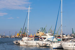 Yachts and pleasure boats are in port of Varna Royalty Free Stock Photography