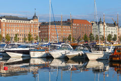 Yachts and pleasure motor boats moored in Helsinki Royalty Free Stock Photography