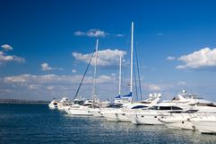 Yachts in port. Some yachts in port on a trick Royalty Free Stock Photography