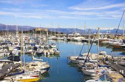 Yachts in the port of Antibes, Cote dAzur Stock Images