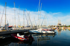 Yachts  at Port de Badalona Royalty Free Stock Photos