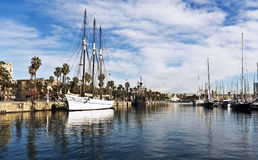 Yachts in Port Forum in Barcelona, Spain. Royalty Free Stock Images