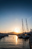 Yachts in the port of Naoussa,  Paros Royalty Free Stock Photos