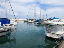Yachts in Port of Old Jaffo Royalty Free Stock Images