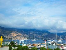 Yachts in port of Saint-Jean-Cap-Ferrat - resort and commune in southeast of France on promontory of Cote d`Azur in Provence-Alpe Stock Photos
