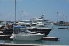 The yachts in the port. Sea port of Sochi, with the yachts anchored Royalty Free Stock Photo