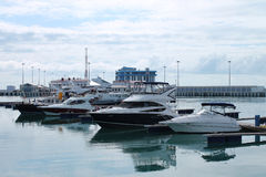 Yachts in the port. Yachts standing in port of Sochi, Russia Royalty Free Stock Photography