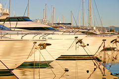 Yachts in a port during the sunset Royalty Free Stock Photo