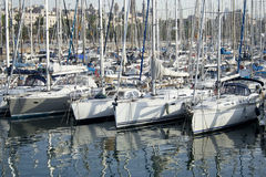 Yachts in Port Vell. Yachts aligned in Port Vell, Barcelona Royalty Free Stock Photo
