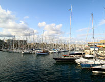 Yachts in Port Vell, Barcelona Royalty Free Stock Photos