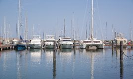 Yachts in the port waiting. Rimini, Italy. Royalty Free Stock Images