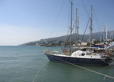 Yachts in port, Yalta, Crimea Royalty Free Stock Image