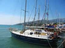 Yachts in port, Yalta, Crimea, Black sea. Royalty Free Stock Photos