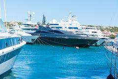 Yachts in Porto Cervo harbor Stock Photo