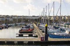Yachts and power boats on their moorings in the modern marina in Bangor County Down Northern Ireland Stock Photos