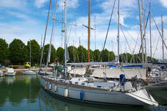 Yachts on the quay at the port of Rimini, Italy Stock Photo