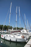 Yachts on the quay at the port of Rimini, Italy Stock Photos