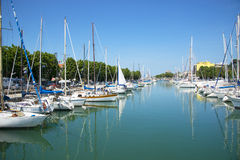 Yachts on the quay at the port of Rimini, Italy Royalty Free Stock Photo