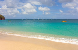 Yachts racing in an annual competition in the windward islands Royalty Free Stock Image