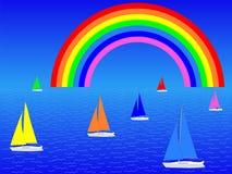 Yachts with rainbow Stock Photos